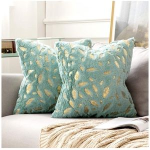 Pillows Covers 18 x 18 Set of 2 Fur Gold Leaves